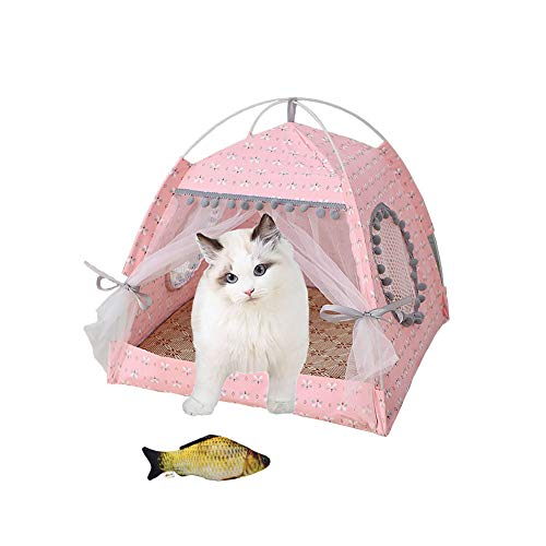 YunNasi Summer Cat Bed Cat Tent Cat House Cave Comfortable Bed for Cats (38x38x36cm, Style 2)