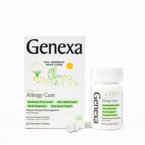 Genexa Allergy Care - 60 Tablets - Multi-Symptom Allergy Medication - Certified Vegan, Organic, Gluten Free & Non-GMO - Homeopathic Remedies