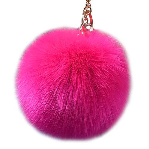 HugAzure Schlüsselanhänger mit Legierung Haken Künstlicher Nachahmung Fuchs Pompom Ball für Handtasche Charms (Rose rot)