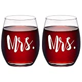 Modwnfy Mrs and Mrs Stemless Wine Glass Set of 2, Couple Set for Her Wife Girlfriend Lesbian Couple, Unique Gift Idea for Wedding Engagement Valentine's Day Birthday Anniversary, 15 Oz
