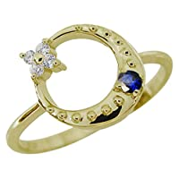 [プレジュール]サファイア 星 月 スターリング 指輪 K10イエローゴールド 一粒 リングサイズ14号