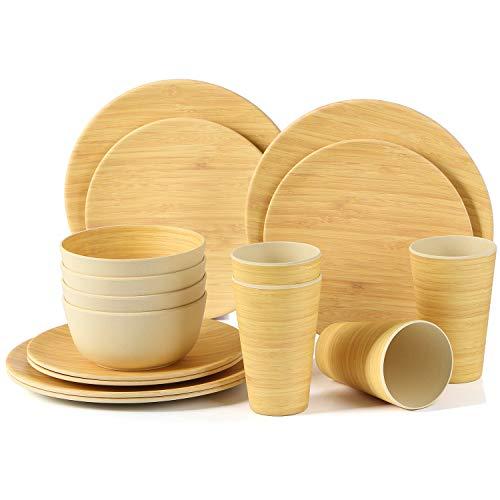 LEKOCH 16-teilige Bio Bambus Umweltfreundlich Camping Geschirr Set für Picknick/BBQ Grill/Fest/Camping/Party Set mit Teller, Salatteller, Suppenschüssel und Becher für 4 Personen (Bambus)