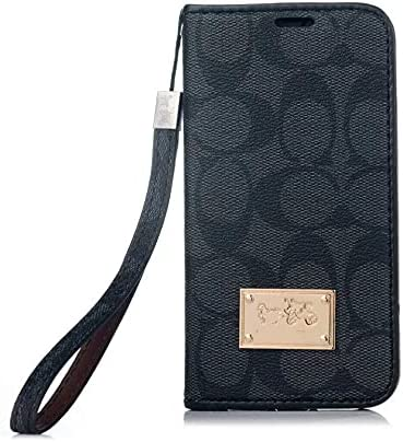 Designer for iPhone 12 Pro Max Wallet Case, Luxury Premium Leather Shockproof Magnetic Closure Flip Case Cover with Card Holder Slots and Wrist Strap Fit for iPhone 12 Pro Max 6.7 inch (Black)