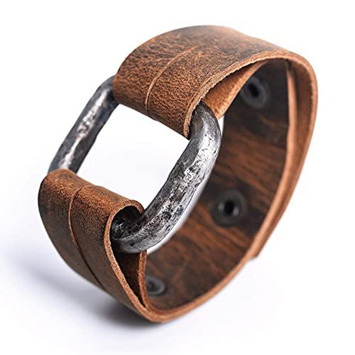 Norse Tradesman Iron Bracelet with Top Grain Buffalo Leather Strap -...