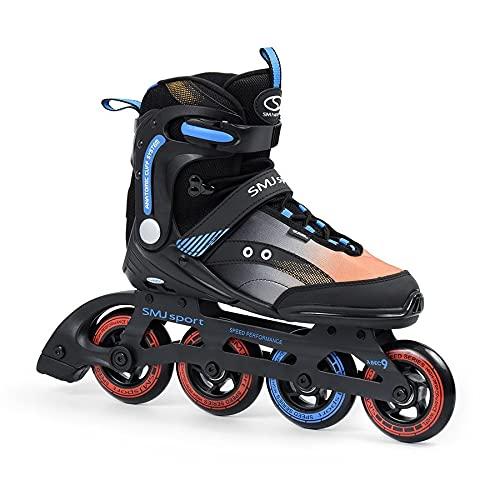 SMJ RX23 Herren Inliner Inlineskates | Rollen 90mm / 82A | ABEC7 Kugellager | Fitness Skates für Jugendliche und Erwachsene | Schwarz (43)