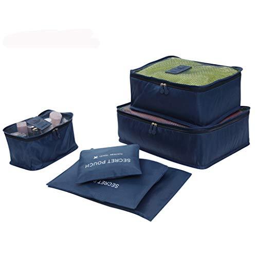 Yowablo Ultraleichte 6-teilige Packwürfel Reisegepäck-Organizer Wäschesack (6Stck,Marine)