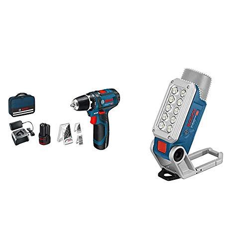 Bosch Professional 0.615.990.GB0 GSR 12V-15 12V System Perceuse-visseuse sans Fil, Bleu & 06014A0000 12V System Lampe LED sans-fil GLI 12V-330 (330 Lumen, 180 min/Ah) Bleu