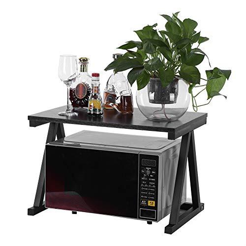 AYNEFY Soporte para microondas, soporte para microondas, estante para encimeras, 1 unidad, soporte para microondas, 2 capas, estante de almacenamiento, armario de cocina, organizador (negro)