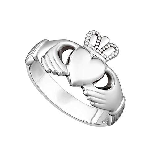 Claddagh Ring Puffed Mens Silver Irish Made Size 14