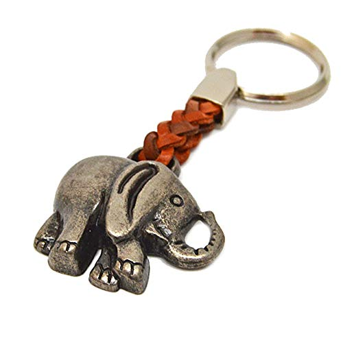 Schlüsselanhänger Schlüsselring Elefant an Lederband, 7 cm Plus Ring 2,5cm