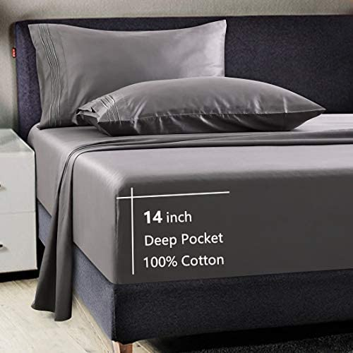 100% Cotton 600 Thread Count Luxury 4 Piece Bed Sheet Set All Season Egyptian Long-Staple Combed Cotton Sheets -Silky Soft, Breathable, Cooling, Deep Pocket, Hotel Quality Bedding (Dark Grey, Queen)
