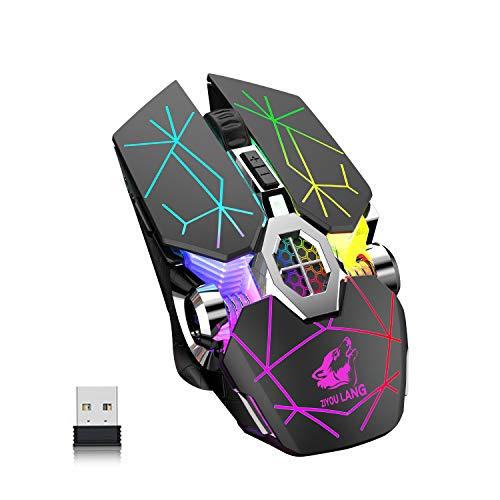 Wireless Bluetooth Gaming Mouse Rechargeable with 7 Button Rainbow RGB Multi Color Breathing Backlit 3 Adjustable DPI Ergonomic Grip Slient Click Power Saving Mode for PC Mac Gamer Officer(StarBlack)