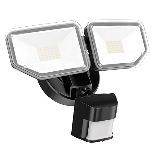 FREELICHT 40W LED Security Lights with Motion Sensor Outdoor, 4000Lm Exterior Flood Light with 2 Adjustable Heads, 5000K Daylight, IP65 Waterproof for Garage,Yard,Entryways - Black