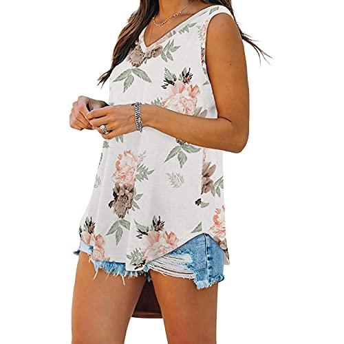 EpicLife Camiseta de verano Y2K para mujer, sexy, sin mangas, color sólido, con estampado de flores/rayas, cuello en V, bodycon, Flor rosa., L