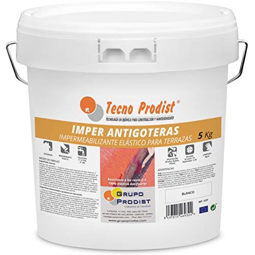 IMPER ANTIGOTERAS de Tecno Prodist - (5 Kg) BLANCO Pintura Impermeabilizante elástica para Terrazas (A Rodillo o brocha)