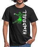 Joueur De Handball À L'Attaque T-Shirt Homme, S, Noir