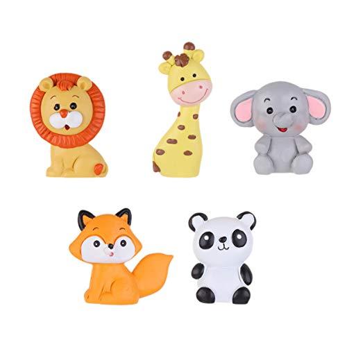 Toyvian 5 Piezas Mini Figura de Animal de Selva Cake Topper Animal Decoración de Jardín de Hada Adorno de Tarta de Cumpleaños Baby Shower