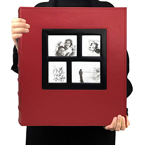 Photo Album Self Adhesive Magnetic DIY Scrapbook 60 Pages 13.3 x 13.4 (Inches) Accommodate 8X10 6X8 5X7 4X6 Photo Wedding Album Memory Book (Red)