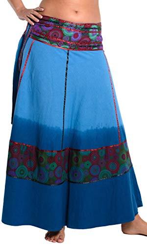 ufash Wickelrock Batik Goa Gipsy - Bunter Maxi Rock lang aus Indien, warme Baumwolle, Blau