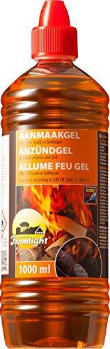 Moritz 1x 1000 ml Grill Anzünder Gel für alle Arten von Kohle - Kamine - Brennpaste in 1Liter Flasche Tischgrill flüssiges Anzündgel Feuergel für Grill und Kamin geruchlose Brennpaste
