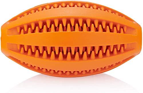 Hund behandeln Rugbyball Mein Trend Haustier | Welpenball aus Naturkautschuk, ungeschenkt BPA-frei | Leckerbissen für alle Hunderassen | Orange Hundespielzeug