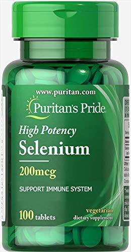 Puritans Pride Selenium 200 mcg Tablets, 100 Count