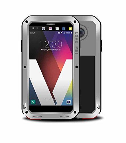 LG V20 Case,Antifall/Shockproof/Dustproof/Waterproof Honeycomb Cooling Groove Aluminum Alloy Frame Super Metal Gorilla Toughened Glass Phone Cases for LG V20 (Silver)