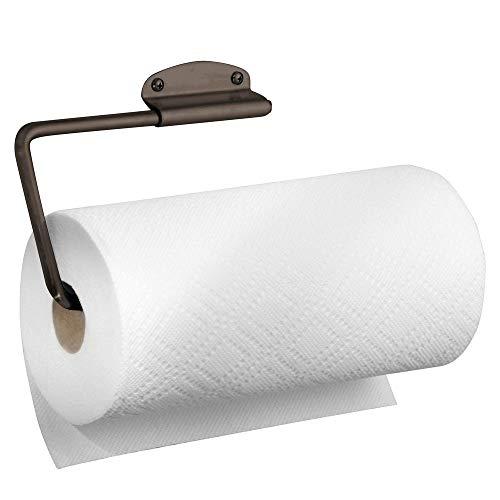 mDesign keukenrolhouder, ideaal voor het opbergen van de keukenrol, houder ook voor keuken- en handdoeken, papierrolhouder voor wand- en kastmontage Bronskleuren