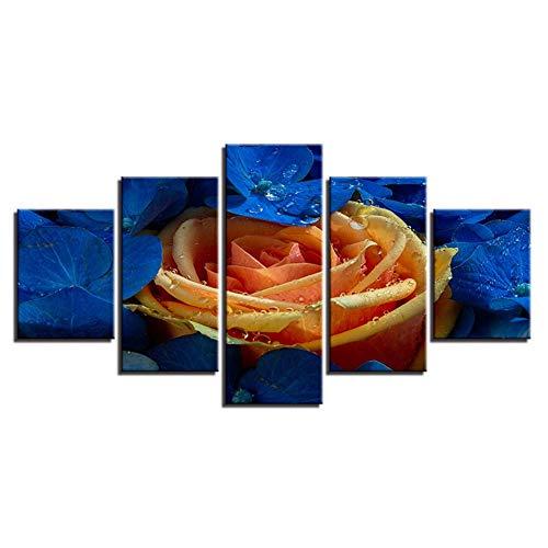 DAIZHJ Canvas Schilderij Muur Art Home Decor 5 Stuks Champagne Rozen Foto's HD Prints Bloemenposter Modulair Voor Woonkamer