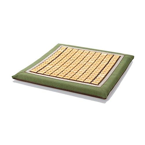 MMM Summer Mahjong Memory Foam Cuscino traspirante Sedia da ufficio Pad Studente Bamboo Cool Seat Mat Antiscivolo (Colore : Verde, dimensioni : 45*45cm (with buckle))