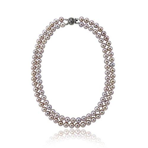 Collier avec 2 rangées de perles de culture d'eau douce véritables 8-9 mm Lavande cueillie à la main 43-45,7 cm