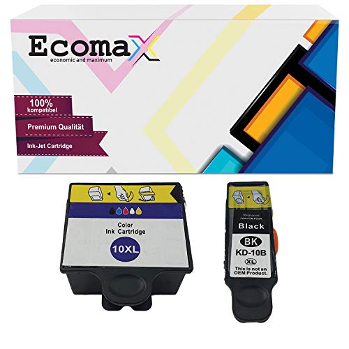 Ecomax 2er Set Druckerpatronen kompatibel zu Kodak 10 (10B + 10C) für Kodak ESP 3 ESP 5 ESP 7 ESP 9, Easyshare 5300 5500 ESP 3250 5250 7250 9250, Hero 7.1 Hero 9.1 Hero Office 6.1