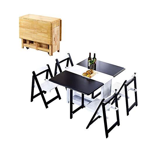 LJJOO Sólido 1.35M de Madera Plegable de 4 sillas de Comedor de la Mariposa de la Hoja de Mesas de Gota Mobiliario de Cocina Natural Mesas (Color : Black+White)