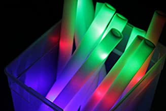 100 Pack - Multicolor LED Foam Sticks Glow Batons - 3 Modes - 18