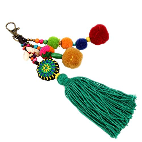Kentop Quaste Schlüsselanhänger Boho Bunte Lange Fransen Anhänger Schlüsselanhänger Auto Tasche Handtasche Handarbeit Ornamente Geschenk für Frauen Teen Mädchen(19cm)
