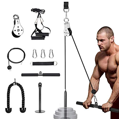 Pulley Cable Machine System, Gym Fitness Cable Pulley System with Loading Pin, Tricep Strap, Straight Bar Forearm Wrist Roller Trainer for LAT Pulldowns, Bicep Curls, Fitness Workout Equipment (1.8)
