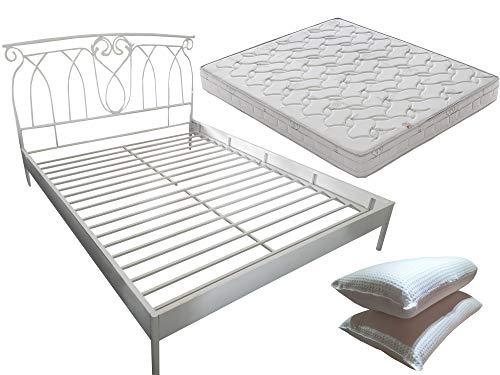 Mirò - Cama de matrimonio de hierro forjado con somier integrado + colchón con memoria de 19 cm + par de almohadas de regalo
