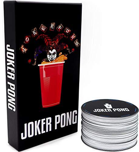 JOKER PONG Das Beer Pong Trinkspiel – Garantierter Spielspaß auf jeder Party, Festival, Geburtstag oder beim Vorglühen - 150 Karten mit 6 Kategorien