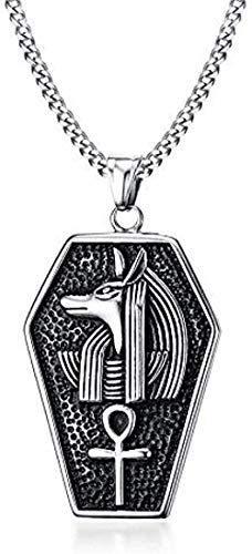 LBBYLFFF Necklace Men's Plated Ankh Old Egypt Necklace Egyptian Pharaoh Pendant Chains Anubis Titan Steel Life Pendant Chain Length 60cm Necklace