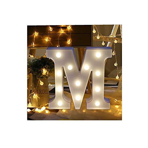 ODJOY-FAN 26 Englisch Brief Licht LED Letter Light Alphabet LED Beleuchtung Licht Oben Weiß Kunststoff Briefe Stehen Hängend A-M Wohnaccessoires Lichter Zubehör (M,1 PC)