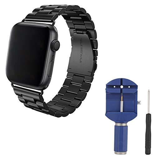 Opopark Correa de Reloj de Acero Inoxidable Compatible con Apple Watch iWatch 42mm 44mm Serie SE/6/5/4/3/2/1, con Herramienta de extracción de eslabones