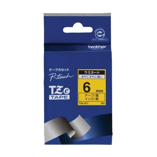 ピータッチ ラミネートテープ 黄ラベル TZe-611 [黒文字 6mm×8m]