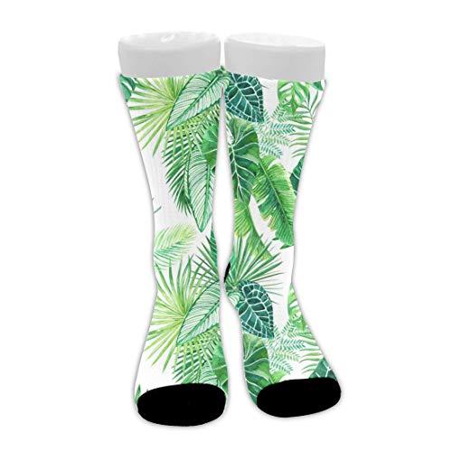 Acuarela Palm Tree Leaf Calcetines de bota de media pantorrilla atléticos suaves unisex Novedad Calcetines largos de vestir Calcetines de viaje novedosos Calcetines de senderismo, tobilleras