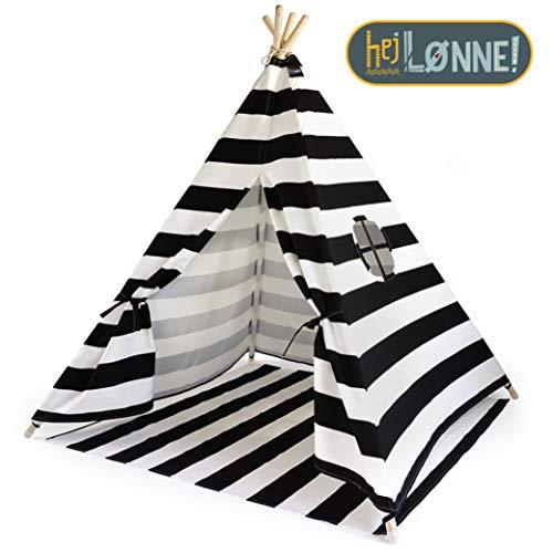Hej Lønne Tipi Zelt für Kinder - Schwarz Gestreift - Kinderzelt Spielzelt Geschenkidee - Mit Bodendecke und Fenster - Für Haus und Garten