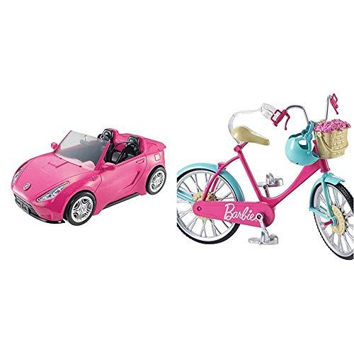Barbie - Coche descapotable de Barbie - barbie Coche - (Mattel DVX59) + Bicicleta, Accesorios muñeca barbie (Mattel DVX55)