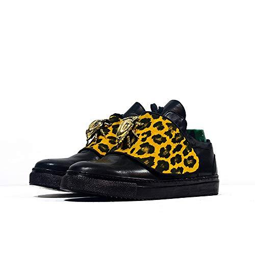 Sneek Low XIII - EU 43 - US 10 - UK 9-28 cm - Cuero Italiano Hecho A Mano Hombre Piel Color Negro Zapatos Casuales Sneakers - Cuero Charol - Encaje