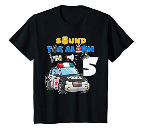 Kids Sound Alarm 5 Year Old Police Cars 5th Birthday Boy T-Shirt