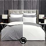 RECA HOME Bettwäsche 155x220cm 2teilig Wendebettwäsche in Grau und Weiß mit Stilvollen Paspelierung am Kissenbezug 80x80 cm, Versteckter Reißverschluss, Weiche und Angenehme 100% Baumwolle