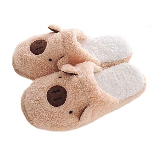 Zapatillas Casa para Mujer Hombre Invierno Anti Deslizante (40/41, Cerdo marrón)