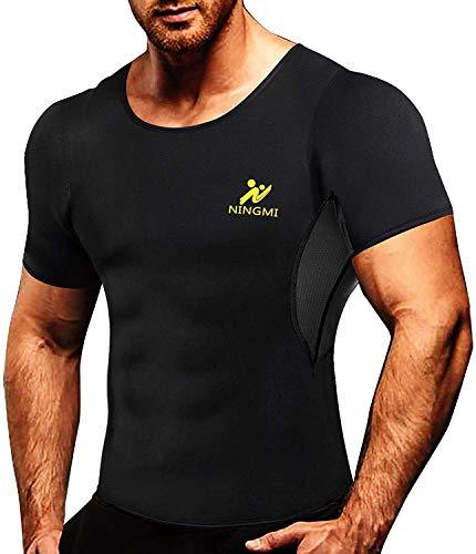 NINGMI Traje de Sauna para Hombre Sudaderas para Fitness de Neopreno Entrenador de Cintura Entrenamiento Camiseta de SPA Caliente para Perder Peso